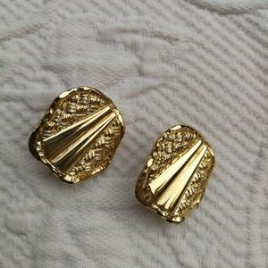 Vintage Earrings Clips Rond Gold